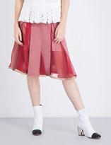 Sacai Houndstooth A-line wool-blend skirt