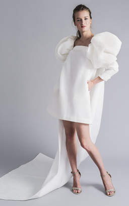 Sophie et Voila Oversized Puff Shoulders With Floor Length Train