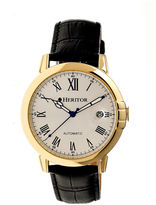 Heritor Automatic Laudrup Mens Leather Magnified Date-Gold/Silver Tone Watch