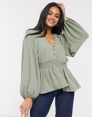 Asos DESIGN kimono sleeve top with shirred waist in Khaki