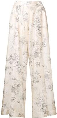 Cavallini Erika floral print silk trousers