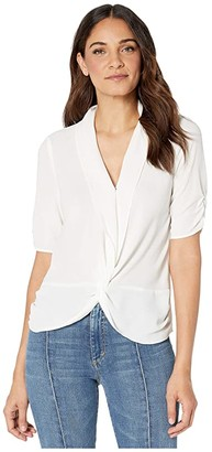 1 STATE 1.STATE Cinched Sleeve Twist Front Blouse (Soft Ecru) Women's Blouse
