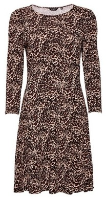 Dorothy Perkins Womens Multicolour Animal Print Crew Neck Jersey Dress