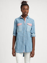 MiH Jeans Oversized Two-Tone Chambray Shirt