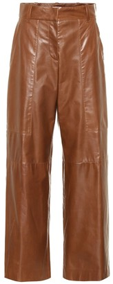 Brunello Cucinelli High-rise wide-leg leather pants
