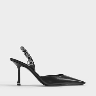 Alexander Wang Grace 85 Slingbacks In Black Leather With Crystals Buckle