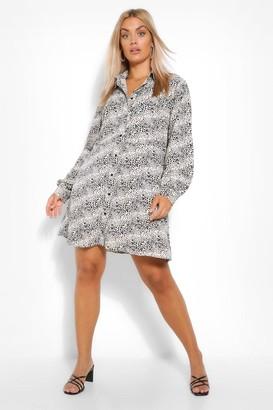 boohoo Plus Leopard Smock Shirt Dress