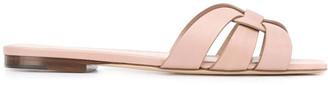 Saint Laurent Nude Tribute Flat Leather Sandals