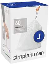 Simplehuman Code J Custom Fit Liners, Tall Kitchen Drawstring Trash Bags, 30-45 Liter / 8-12 Gallon, 3 Refill Packs (60 Count)