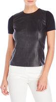 Carolina Herrera Leather & Cashmere Top
