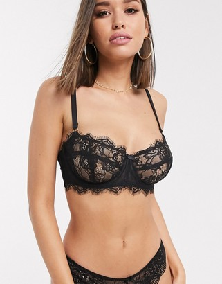 Figleaves Pulse eyelash lace balcony bra in black