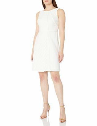 Sandra Darren Women's 1 Pc Solid Sleeveless Dot Lace & Crepe Fit & Flare Dress