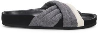 Isabel Marant Holden Quilted Denim & Leather Slides