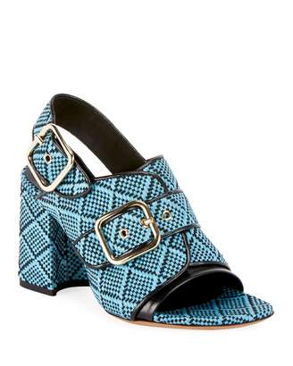 Dries Van Noten Raffia Calf-Leather Chunky Heel Sandal s