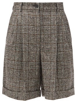 Dolce & Gabbana Pleated High-rise Wool-blend Tweed Shorts - Grey Multi