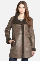 Ellen Tracy Asymmetrical Zip Faux Shearling Coat