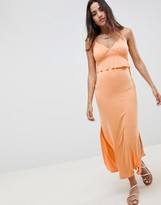 Asos Design DESIGN maxi sundress with ruffle waist in slinky