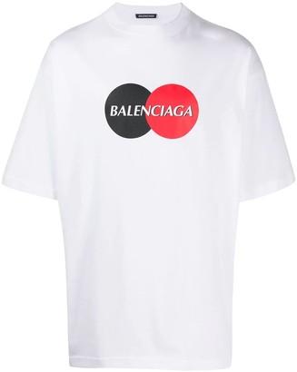 Balenciaga Contrasting Circle Logo Graphic Print T-shirt White