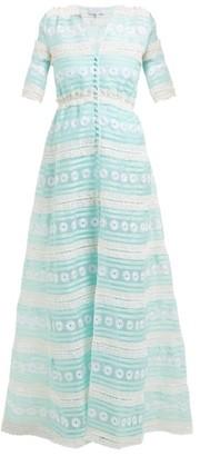 Luisa Beccaria Silk-organza Gown - Green White