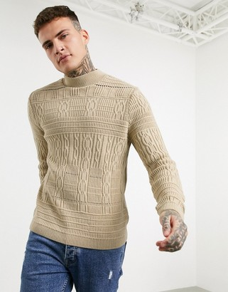 ASOS DESIGN knitted mixed texture turtle neck jumper in beige