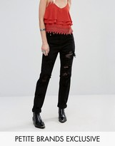 Glamorous Petite Extreme Distress Boyfriend Jeans With Mesh Insert