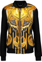 Versace Faux-Leather Trimmed Printed Satin And Wool-Blend Jacket