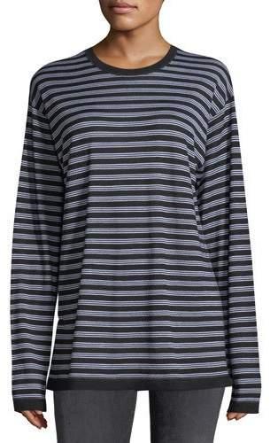 Alexander Wang Wash Go Striped Crewneck Long-Sleeve Merino Wool Tee