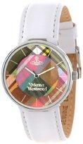 Vivienne Westwood Women's VV020WH Tartan Swiss Quartz White Leather Strap Watch