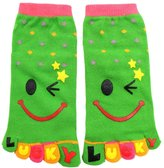 uxcell® Child Dots Pattern Stretchy Ankle Length Toe Socks 8-9.5