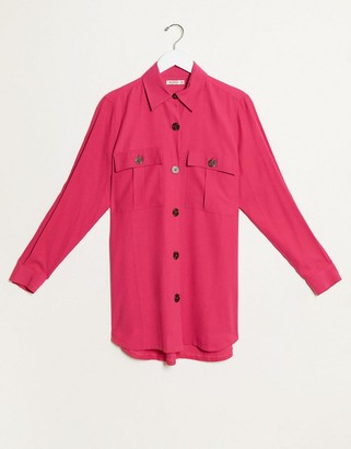 Stradivarius twill overshirt in pink
