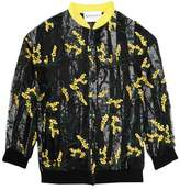 Vionnet Appliquéd Printed Tulle And Cotton-Blend Bomber Jacket