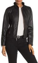 MICHAEL Michael Kors Leather Zip Front Moto Jacket