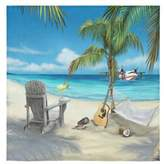 Beach Towel New Year/Christmas Gift Beach Palm Tree Chair Guitar Slippers Towel(One-sided Printing)