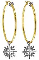 Jade Jagger Star and Garter Sterling Silver with 14 ct Yellow Gold Large Hoop Earrings