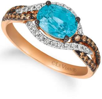 LeVian Le Vian Blue Zircon (2 ct.t.w.), Nude Diamonds (1/3 ct.t.w.), and Chocolate Diamonds (1/4 ct.t.w.) Ring set in 14k rose gold