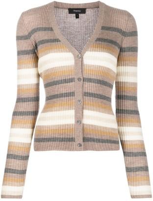 Theory Striped Knit Cardigan