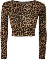 Fashion Essentials-Women's Round Neck Leopard Skull rose Zebra Comic Print Long Sleeve Crop Top (4-6, )