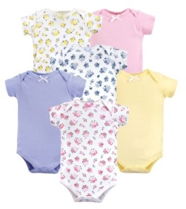 Luvable Friends Unisex Baby Bodysuits Floral 6Pack 0-24 Months