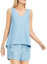 Vince Camuto Chambray Split Back Tank
