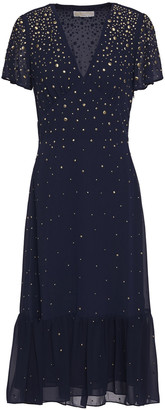 MICHAEL Michael Kors Embellished Gathered Chiffon Midi Dress