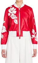 Fendi Leather Applique Bomber Jacket