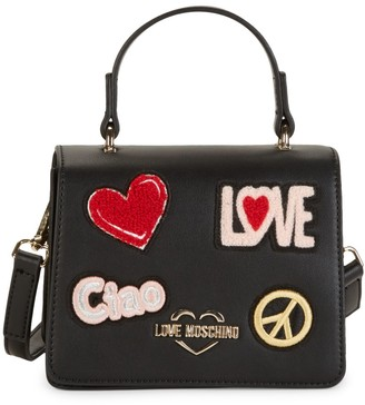 Love Moschino Patch Faux Leather Crossbody Bag