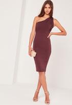 Missguided One Shoulder Bodycon Midi Dress Purple