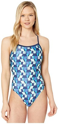 Speedo Tile Shards Flyback One-Piece (Blue) Women's Swimsuits One Piece