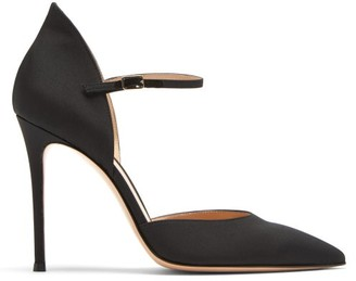 Gianvito Rossi Point-toe 105 Stiletto Satin Pumps - Black