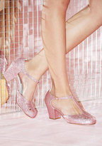 Shimmer Down Now T-Strap Heel in Rose Glitter in 6