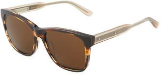 Bottega Veneta Plastic Square Havana Sunglasses