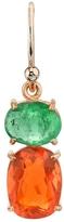 Irene Neuwirth Emerald and Fire Opal Single Drop Earring