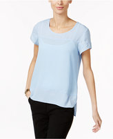 NY Collection Petite Crepe & Dobby High-Low Top