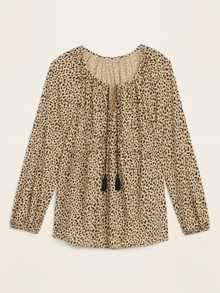 Old Navy Printed Tie-Neck Swing Blouse for Women